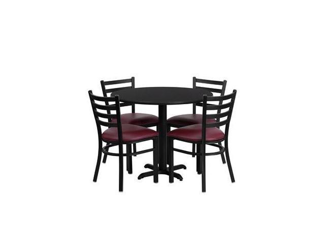 Flash Furniture 36'' Round Black Laminate Table Set with 4 Ladder Back Metal Chairs - Burgundy Vinyl Seat [HDBF1005-GG]