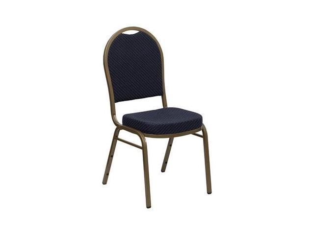 Flash Furniture HERCULES Series Dome Back Stacking Banquet Chair with Navy Patterned Fabric and 2.5'' Thick Seat - Gold Frame [FD-C03-ALLGOLD-H203774-GG]