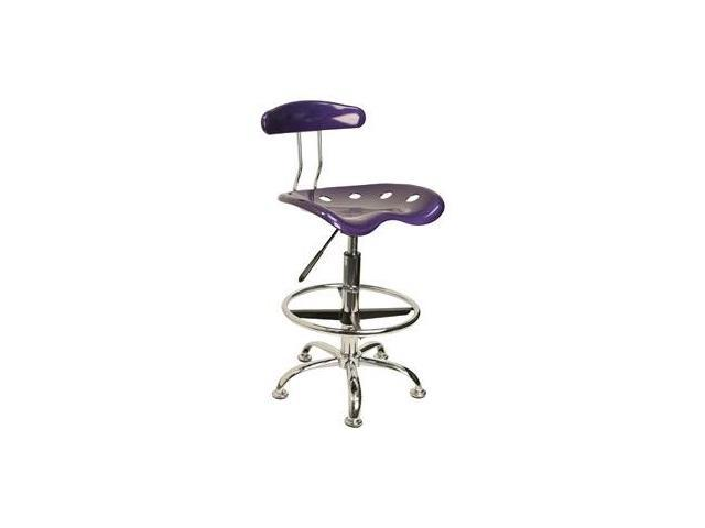 Flash Furniture Vibrant Violet and Chrome Drafting Stool with Tractor Seat [LF-215-VIOLET-GG]