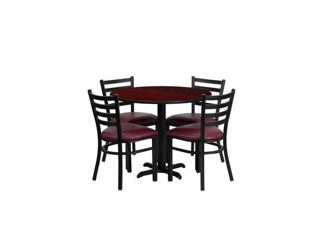 Flash Furniture 36'' Round Mahogany Laminate Table Set with 4 Ladder Back Metal Chairs - Burgundy Vinyl Seat [HDBF1006-GG]