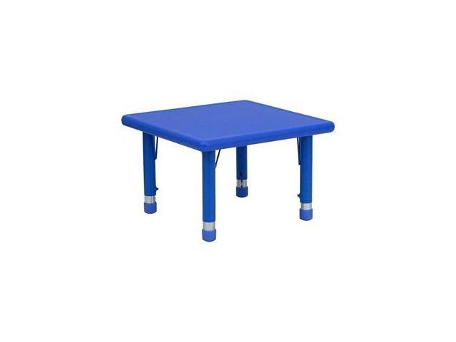 Flash Furniture 24'' Square Height Adjustable Blue Plastic Activity Table [YU-YCX-002-2-SQR-TBL-BLUE-GG]