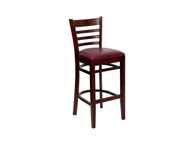 Flash Furniture HERCULES Series Mahogany Finished Ladder Back Wooden Restaurant Bar Stool with Burgundy Vinyl Seat [XU-DGW0005BARLAD-MAH-BURV-GG]
