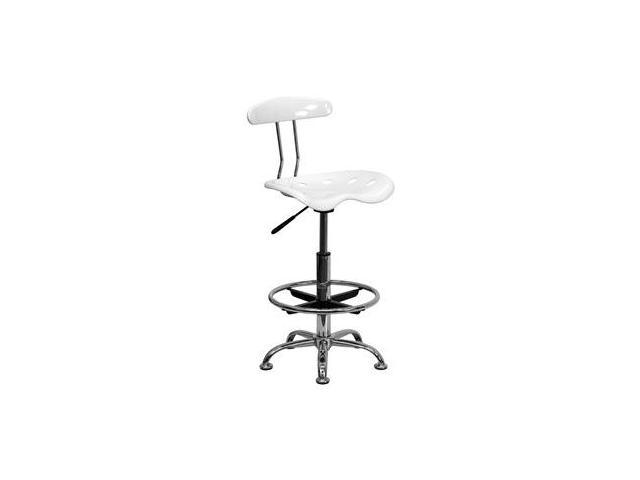 Flash Furniture Vibrant White and Chrome Drafting Stool with Tractor Seat [LF-215-WHITE-GG]