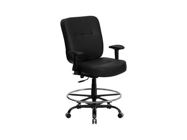 Flash Furniture HERCULES Series 400 lb. Capacity Big & Tall Black Leather Drafting Stool with Arms and Extra WIDE Seat [WL-735SYG-BK-LEA-AD-GG]