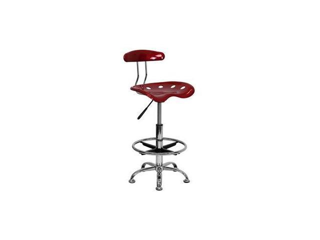 Flash Furniture Vibrant Wine Red and Chrome Drafting Stool with Tractor Seat [LF-215-WINERED-GG]