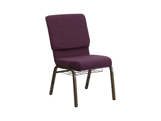 Flash Furniture HERCULES Series 18.5'' Wide Plum Church Chair with 4.25'' Thick Seat, Communion Cup Book Rack - Gold Vein Frame [FD-CH02185-GV-005-BAS-GG]