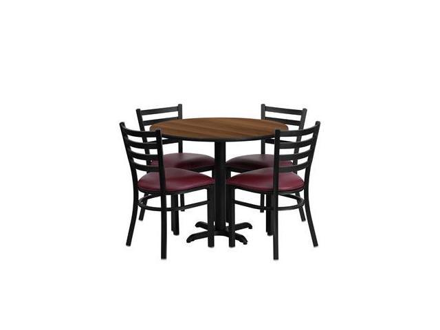 Flash Furniture 36'' Round Walnut Laminate Table Set with 4 Ladder Back Metal Chairs - Burgundy Vinyl Seat [HDBF1008-GG]