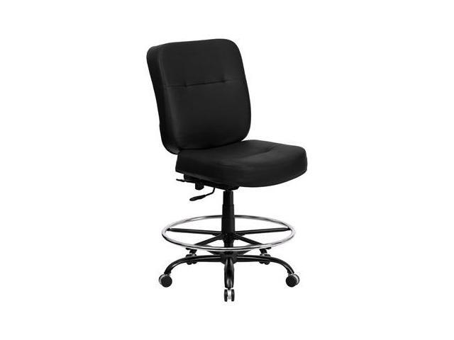 Flash Furniture HERCULES Series 400 lb. Capacity Big & Tall Black Leather Drafting Stool with Extra WIDE Seat [WL-735SYG-BK-LEA-D-GG]