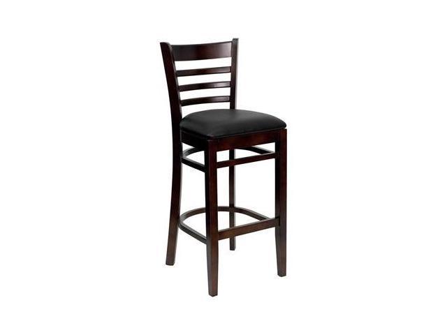 Flash Furniture HERCULES Series Walnut Finished Ladder Back Wooden Restaurant Bar Stool with Black Vinyl Seat [XU-DGW0005BARLAD-WAL-BLKV-GG]