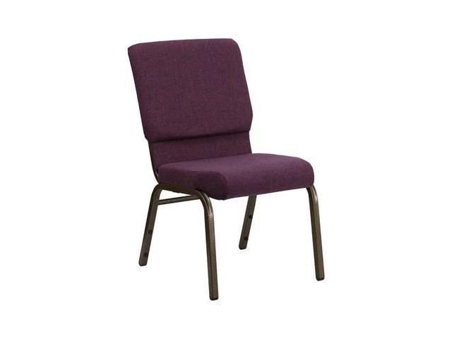Flash Furniture HERCULES Series 18.5'' Wide Plum Stacking Church Chair with 4.25'' Thick Seat - Gold Vein Frame [FD-CH02185-GV-005-GG]