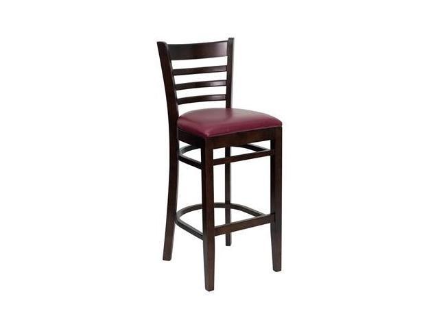 Flash Furniture HERCULES Series Walnut Finished Ladder Back Wooden Restaurant Bar Stool with Burgundy Vinyl Seat [XU-DGW0005BARLAD-WAL-BURV-GG]