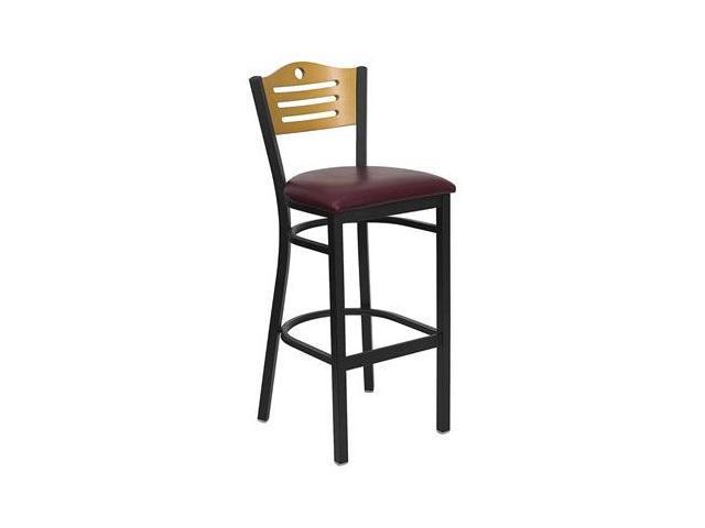 Flash Furniture HERCULES Series Black Slat Back Metal Restaurant Bar Stool with Natural Wood Back & Burgundy Vinyl Seat [XU-DG-6H3B-SLAT-BAR-BURV-GG]
