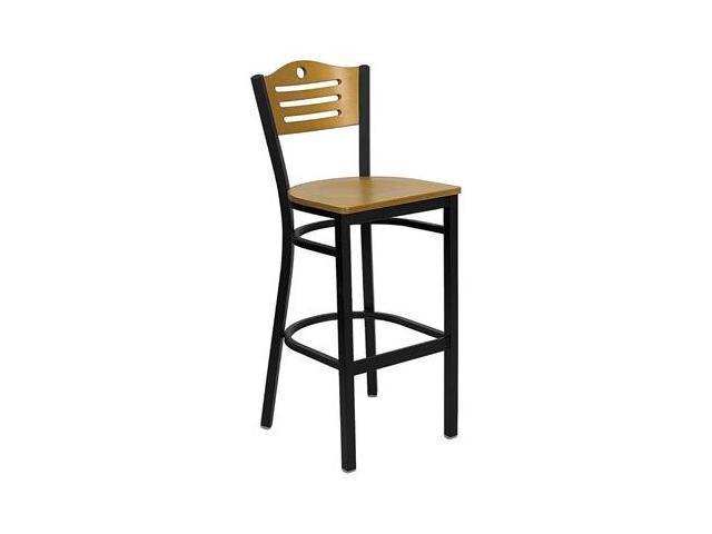 Flash Furniture HERCULES Series Black Slat Back Metal Restaurant Bar Stool with Natural Wood Back & Seat [XU-DG-6H3B-SLAT-BAR-NATW-GG]