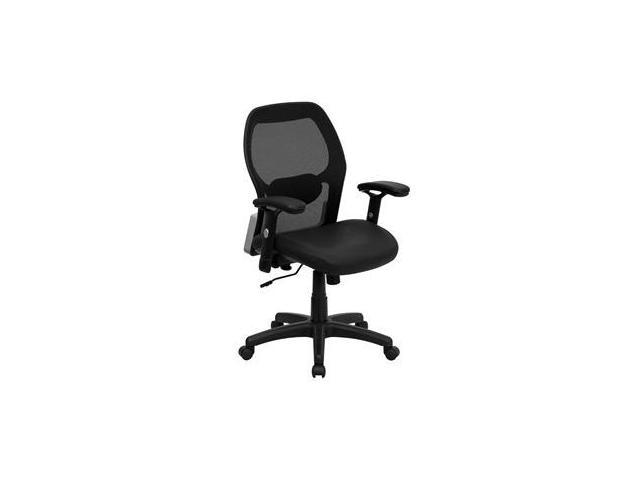 Flash Furniture Mid-Back Super Mesh Office Chair with Black Italian Leather Seat [LF-W42B-L-GG]