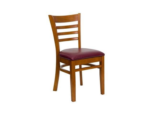 Flash Furniture HERCULES Series Cherry Finished Ladder Back Wooden Restaurant Chair with Burgundy Vinyl Seat [XU-DGW0005LAD-CHY-BURV-GG]