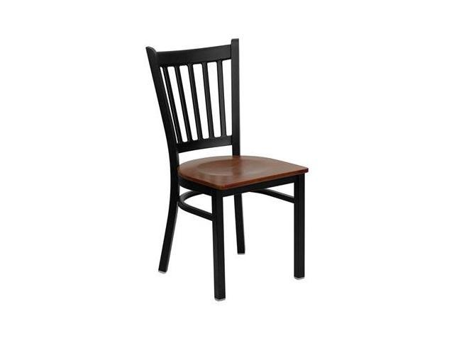 Flash Furniture HERCULES Series Black Vertical Back Metal Restaurant Chair with Cherry Wood Seat [XU-DG-6Q2B-VRT-CHYW-GG]