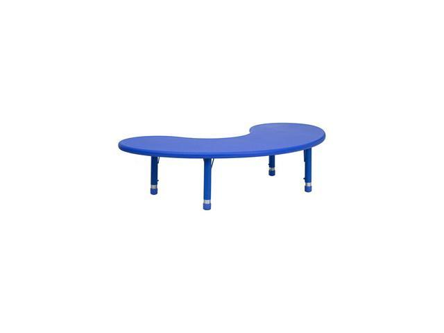 Flash Furniture 35''W x 65''L Height Adjustable Half-Moon Blue Plastic Activity Table [YU-YCX-004-2-MOON-TBL-BLUE-GG]