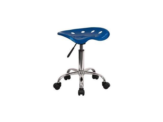 Flash Furniture Vibrant Bright Blue Tractor Seat and Chrome Stool [LF-214A-BRIGHTBLUE-GG]