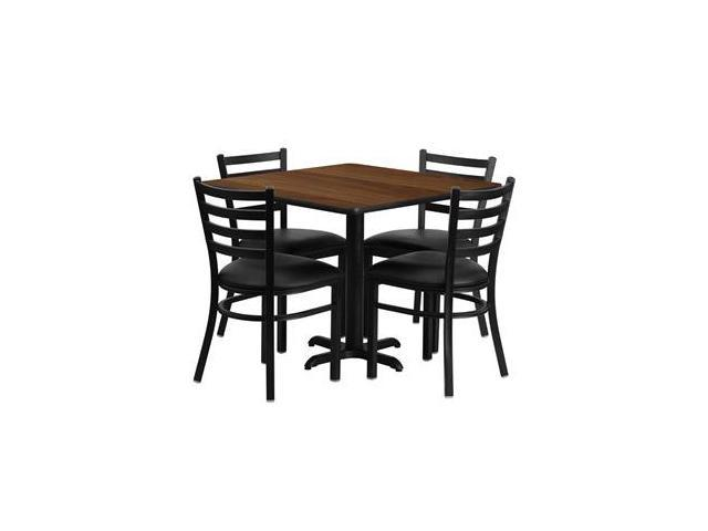 Flash Furniture 36'' Square Walnut Laminate Table Set with 4 Ladder Back Metal Chairs - Black Vinyl Seat [HDBF1016-GG]