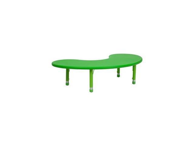Flash Furniture 35''W x 65''L Height Adjustable Half-Moon Green Plastic Activity Table [YU-YCX-004-2-MOON-TBL-GREEN-GG]