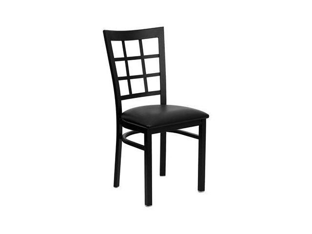 Flash Furniture HERCULES Series Black Window Back Metal Restaurant Chair with Black Vinyl Seat [XU-DG6Q3BWIN-BLKV-GG]