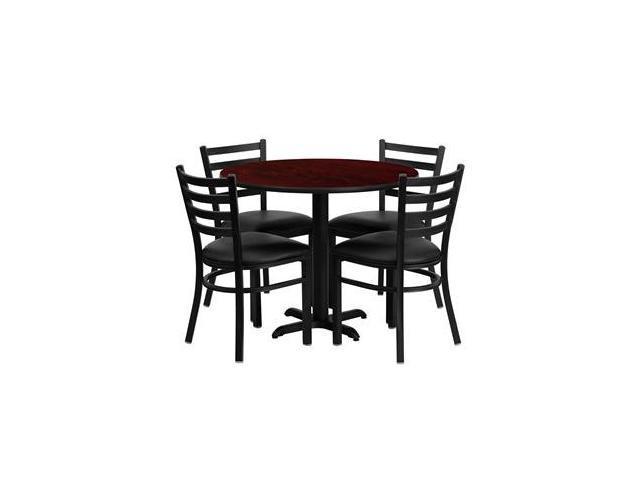 Flash Furniture 36'' Round Mahogany Laminate Table Set with 4 Ladder Back Metal Chairs - Black Vinyl Seat [HDBF1030-GG]