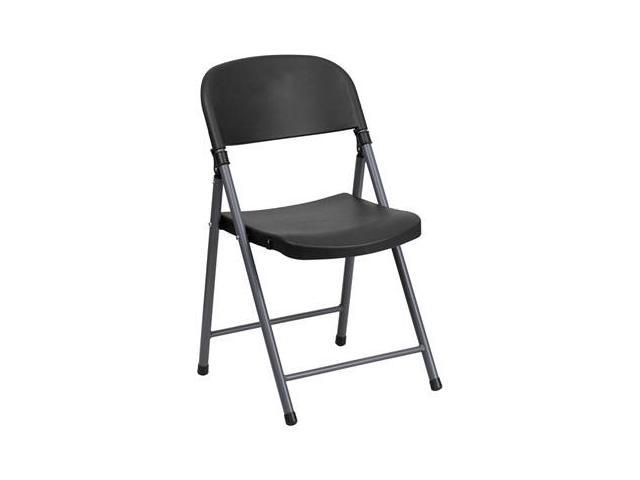 Flash Furniture Black Plastic Folding Chair with Charcoal Frame [DAD-YCD-50-GG]