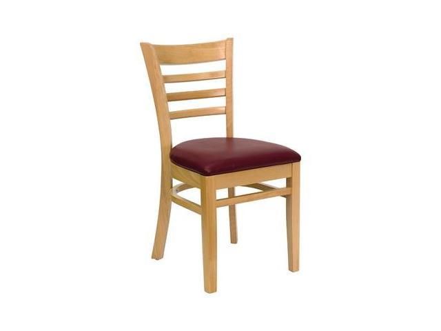 Flash Furniture HERCULES Series Natural Wood Finished Ladder Back Wooden Restaurant Chair with Burgundy Vinyl Seat [XU-DGW0005LAD-NAT-BURV-GG]