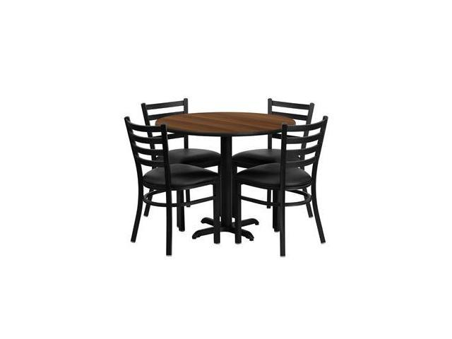 Flash Furniture 36'' Round Walnut Laminate Table Set with 4 Ladder Back Metal Chairs - Black Vinyl Seat [HDBF1032-GG]