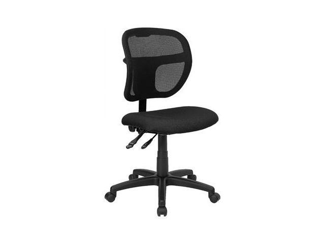 Flash Furniture Mid-Back Mesh Task Chair with Black Fabric Seat [WL-A7671SYG-BK-GG]