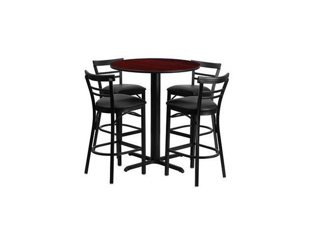 Flash Furniture 24'' Round Mahogany Laminate Table Set with 4 Ladder Back Metal Bar Stools - Black Vinyl Seat [HDBF1034-GG]