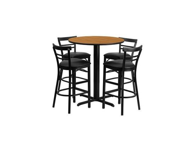 Flash Furniture 24'' Round Natural Laminate Table Set with 4 Ladder Back Metal Bar Stools - Black Vinyl Seat [HDBF1035-GG]