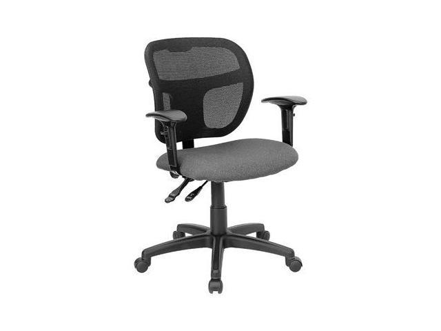 Flash Furniture Mid-Back Mesh Task Chair with Gray Fabric Seat [WL-A7671SYG-GY-A-GG]