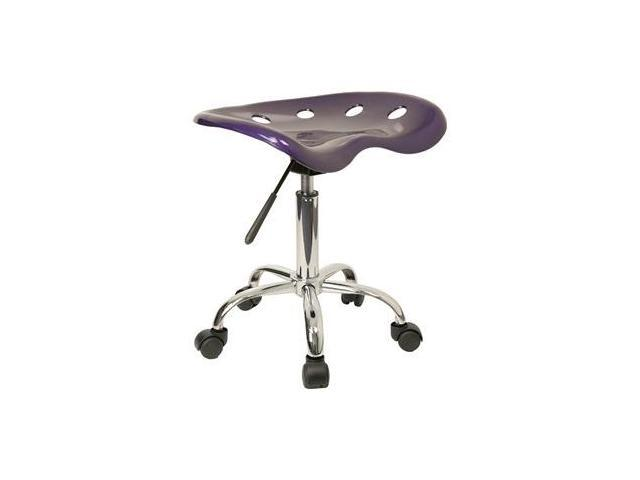 Flash Furniture Vibrant Violet Tractor Seat and Chrome Stool [LF-214A-VIOLET-GG]