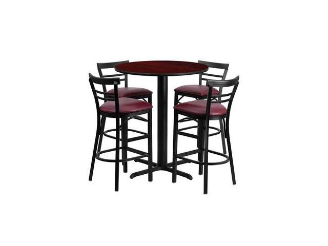 Flash Furniture 24'' Round Mahogany Laminate Table Set with 4 Ladder Back Metal Bar Stools - Burgundy Vinyl Seat [HDBF1038-GG]