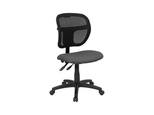 Flash Furniture Mid-Back Mesh Task Chair with Gray Fabric Seat [WL-A7671SYG-GY-GG]