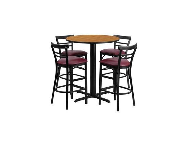 Flash Furniture 24'' Round Natural Laminate Table Set with 4 Ladder Back Metal Bar Stools - Burgundy Vinyl Seat [HDBF1039-GG]