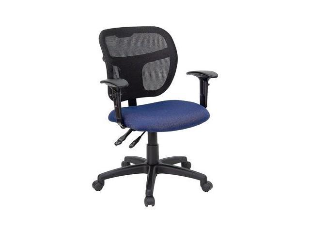 Flash Furniture Mid-Back Mesh Task Chair with Navy Blue Fabric Seat and Arms [WL-A7671SYG-NVY-A-GG]