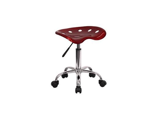 Flash Furniture Vibrant Wine Red Tractor Seat and Chrome Stool [LF-214A-WINERED-GG]