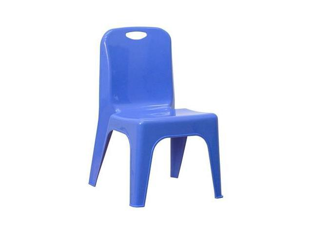 Flash Furniture Blue Plastic Stackable School Chair with Carrying Handle and 11'' Seat Height [YU-YCX-011-BLUE-GG]