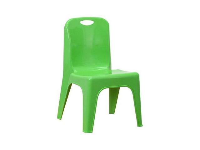 Flash Furniture Green Plastic Stackable School Chair with Carrying Handle and 11'' Seat Height [YU-YCX-011-GREEN-GG]