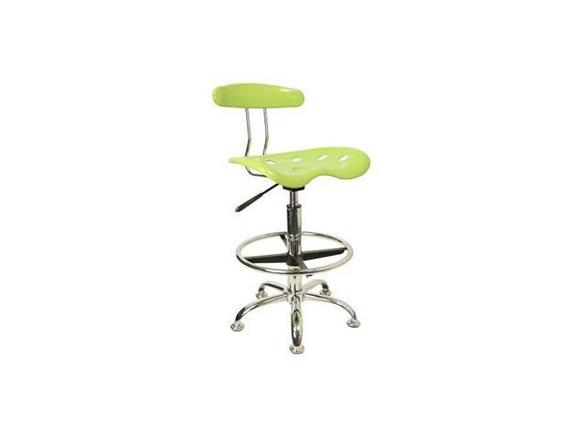 Flash Furniture Vibrant Apple Green and Chrome Drafting Stool with Tractor Seat [LF-215-APPLEGREEN-GG]