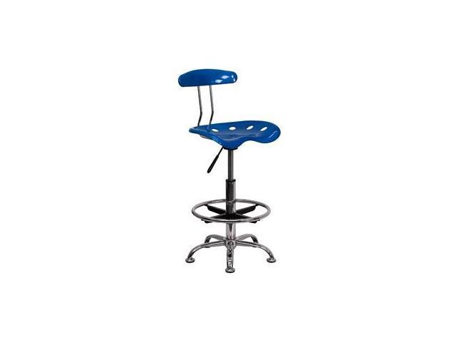 Flash Furniture Vibrant Bright Blue and Chrome Drafting Stool with Tractor Seat [LF-215-BRIGHTBLUE-GG]