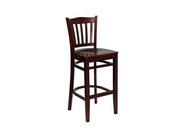 Flash Furniture HERCULES Series Mahogany Finished Vertical Slat Back Wooden Restaurant Bar Stool [XU-DGW0008BARVRT-MAH-GG]