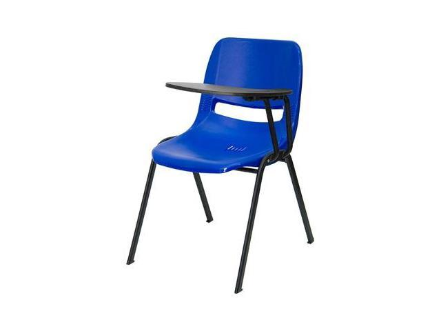 Flash Furniture Blue Ergonomic Shell Chair With Left Handed Tablet Arm RUT E