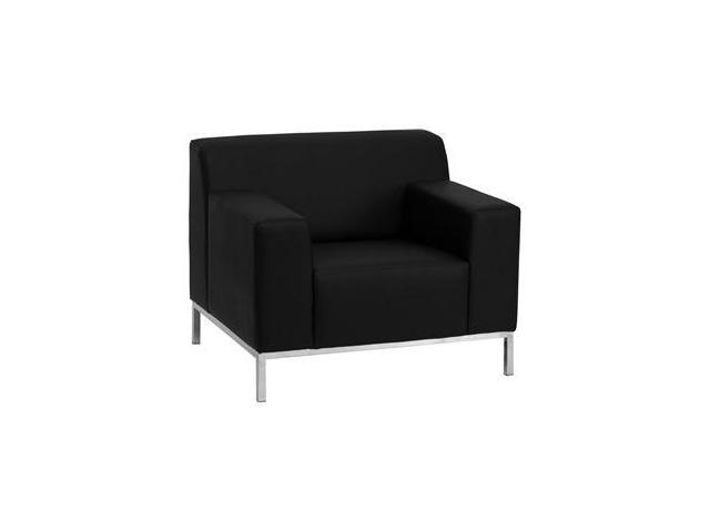 Definity Series Black Leather Chair with Stainless Steel Frame by Flash Furniture