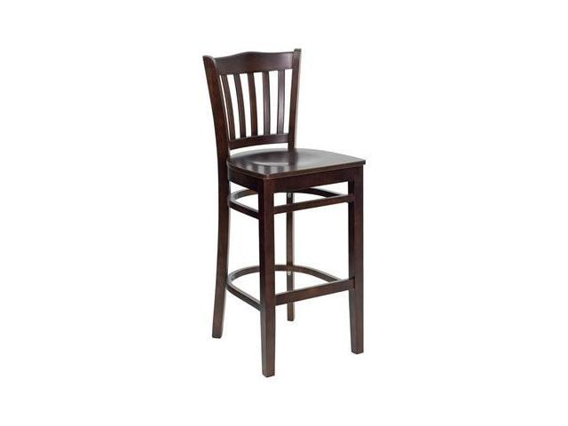 Flash Furniture HERCULES Series Walnut Finished Vertical Slat Back Wooden Restaurant Bar Stool [XU-DGW0008BARVRT-WAL-GG]