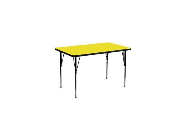 Flash Furniture 30''W x 48''L Rectangular Activity Table with 1.25'' Thick High Pressure Yellow Laminate Top and Standard Height Adjustable Legs [XU-A3048-REC-YEL-H-A