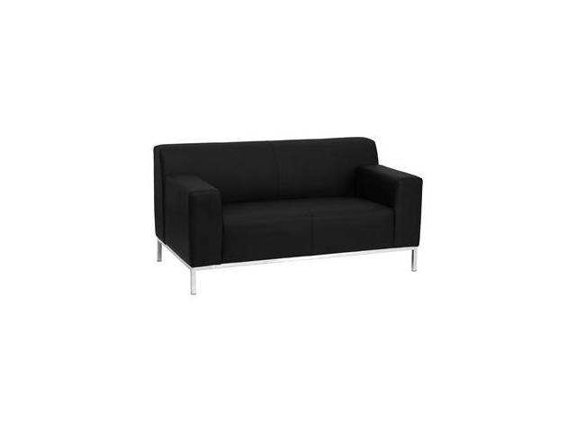 Definity Series Black Leather Love Seat with Stainless Steel Frame by Flash Furniture