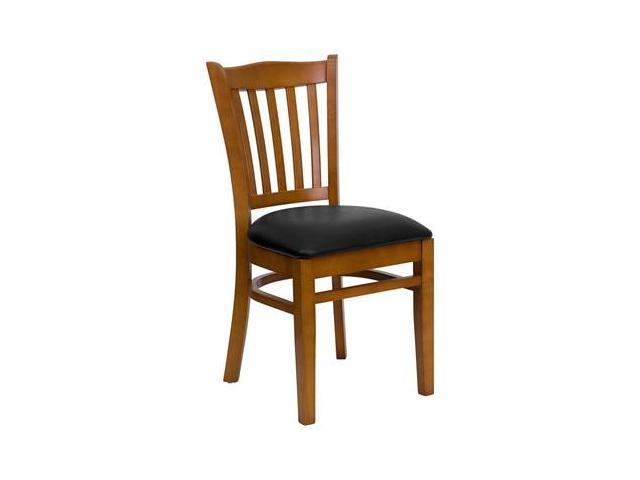Flash Furniture HERCULES Series Cherry Finished Vertical Slat Back Wooden Restaurant Chair with Black Vinyl Seat [XU-DGW0008VRT-CHY-BLKV-GG]